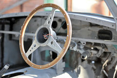 Steering Wheel in Scrapped Car Royalty Free Stock Images