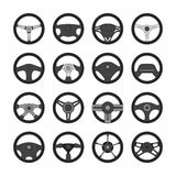 Steering wheel. Set of different steering wheels  on white Stock Image