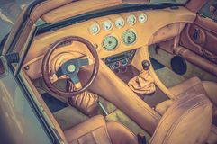 Steering wheel, shift lever and dashboard - retro and vintage st Royalty Free Stock Image
