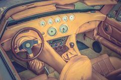 Steering wheel, shift lever and dashboard - retro and vintage st Stock Photography