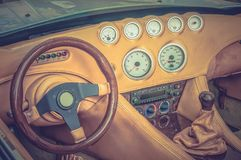 Steering wheel, shift lever and dashboard - retro and vintage st Stock Images