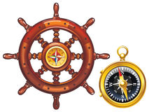 Steering wheel of the ship and the golden compass. Vector icons helm of the ship and compass Vector Illustration