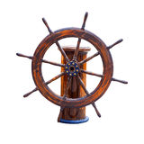 Steering wheel. Of the ship isolated Stock Image