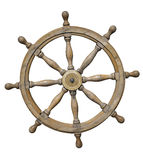 Steering wheel of ship isolated on white with clipping path Stock Photos