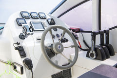 Steering wheel the ship of speedboats Royalty Free Stock Image