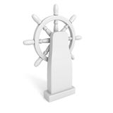 Steering wheel of the ship on white background Stock Images