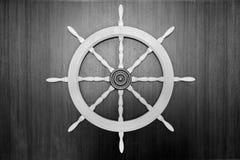 Steering wheel of the ship Stock Photo