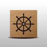 Steering wheel. Of the ship wood icon Royalty Free Stock Images