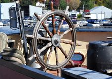 Steering wheel of a ship Stock Photo