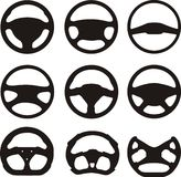 Steering wheel silhouettes Stock Images