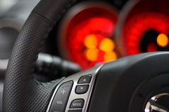 Steering wheel & speedometer red Royalty Free Stock Images