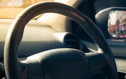 Steering wheel with sunlight. Royalty Free Stock Photography