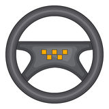 Steering wheel of taxi icon, cartoon style. Steering wheel of taxi icon in cartoon style isolated on white background. Car symbol vector illustration Stock Images