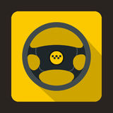 Steering wheel of taxi icon, flat style Royalty Free Stock Image
