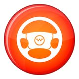 Steering wheel of taxi icon, flat style Royalty Free Stock Images
