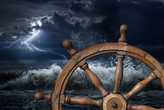 Steering wheel and thunderstorm 3d illustration. Steering wheel and ocean thunderstorm 3d illustration stock images