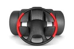 Steering wheel and tire on white background. Isolated 3D illustr. Ation Royalty Free Stock Images