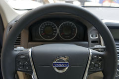 Volvo steering wheel. Steering wheel to a Volvo Car stock images