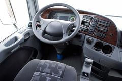 Steering wheel in a truck royalty free stock images