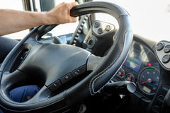 Steering wheel in a truck Royalty Free Stock Photography
