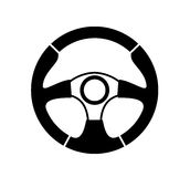 Steering wheel. Vector black steering wheel on white background Royalty Free Stock Photo