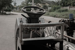 Steering wheel Vintage car. Local thailand Stock Photo