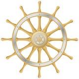 Steering wheel. Wood steering wheel on white background Stock Images
