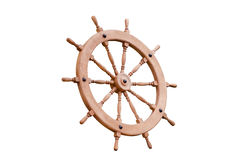 Steering wheel wooden on a white background Stock Photos