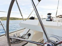 Steering wheel of yacht in Adriatic sea Stock Photography