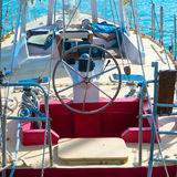 Steering wheel on the yacht Royalty Free Stock Photos