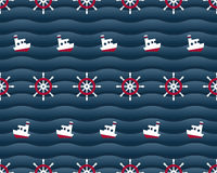 Steering wheels and boats on navy background Royalty Free Stock Photography