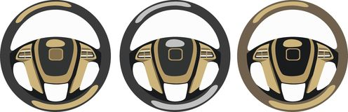 Steering wheels. For rich cars Royalty Free Stock Images