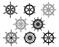 Steering wheels set for heraldry Stock Photos