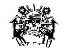 Steering whell and skull. The vector image of piracy skull and steering wheel Stock Photo