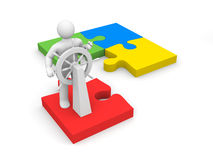 Steersman on puzzle Royalty Free Stock Photography