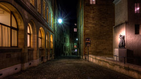 Steet of Geneve at night. Photo of a street in Geneve old town taken on a cold winter night Royalty Free Stock Image