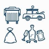 Steet kubeł na śmieci, łamający banialuka set, samochodowy i bezużyteczny ilustracja wektor