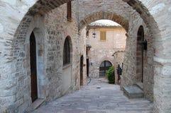 Steets van Assisi Stock Afbeeldingen