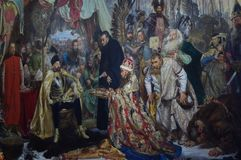 Stefan Batory at Pskov painting by Jan Matejko. Stefan Batory at Pskov, an 1872 history painting by the Polish artist Jan Matejko, at the Royal Castle in Warsaw royalty free stock photography
