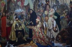 Stefan Batory at Pskov painting by Jan Matejko. Stefan Batory at Pskov, an 1872 history painting by the Polish artist Jan Matejko, at the Royal Castle in Warsaw Royalty Free Stock Photography