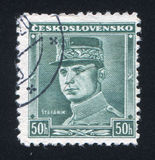 Stefanik. CZECHOSLOVAKIA - CIRCA 1945: stamp printed by Czechoslovakia, shows Stefanik, circa 1945 Royalty Free Stock Images