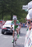 Stefano Garzelli. The Italian cyclist Stefano Garzelli during the Giro d'Italia 2011,while wearing the green shirt for the mountains leader Royalty Free Stock Photos