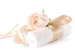 Steg över vita handdukar Royaltyfri Fotografi