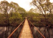 Steg über dem schwarzen Fluss lizenzfreie stockbilder