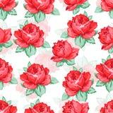 Steg blommahanden som drar den sömlösa modellen, blom- bakgrund för vektorn, blom- broderiprydnad Röd ros för utdragna knoppar Royaltyfri Foto