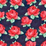 Steg blommahanden som drar den sömlösa modellen, blom- bakgrund för vektorn, blom- broderiprydnad Röd ros för utdragna knoppar Royaltyfri Fotografi