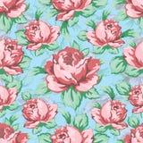 Steg blommahanden som drar den sömlösa modellen, blom- bakgrund för vektorn, blom- broderiprydnad Utdragen knopprosa färgros Royaltyfri Fotografi