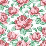 Steg blommahanden som drar den sömlösa modellen, blom- bakgrund för vektorn, blom- broderiprydnad Utdragen knopprosa färgros Royaltyfria Bilder