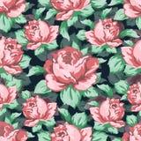 Steg blommahanden som drar den sömlösa modellen, blom- bakgrund för vektorn, blom- broderiprydnad Utdragen knopprosa färgros Fotografering för Bildbyråer