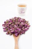 Steg blomman med en kopp te Arkivfoton
